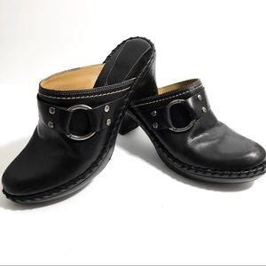 Frye Black Leather Western Style Mules